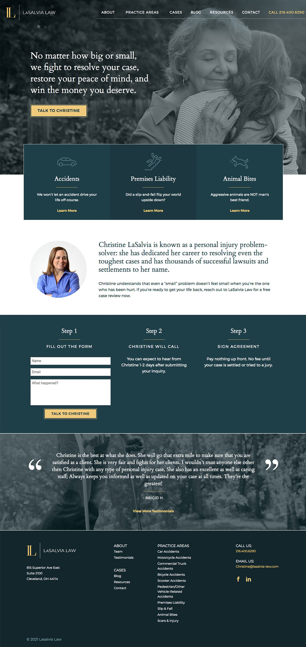 Angelia Becker designed this homepage with Rosenberg Advertising for LaSalvia Law.
